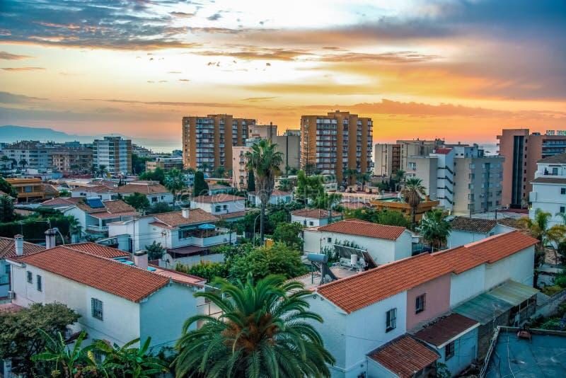 Benalmadena Malaga Costa del Sol Beautiful View Sunrise Cityscape. Amazing view stock image