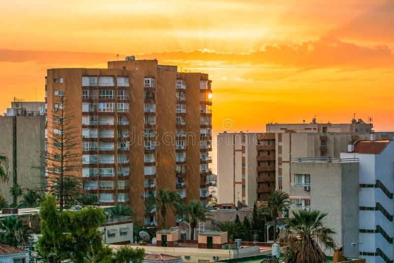 Benalmadena Malaga Costa del Sol Beautiful View Sunrise Cityscape. Amazing view royalty free stock images