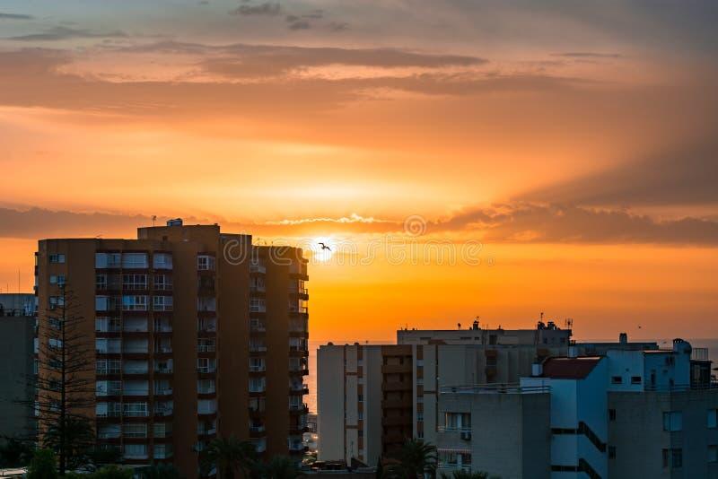 Benalmadena Malaga Costa del Sol Beautiful View Sunrise Cityscape. Amazing view stock photos