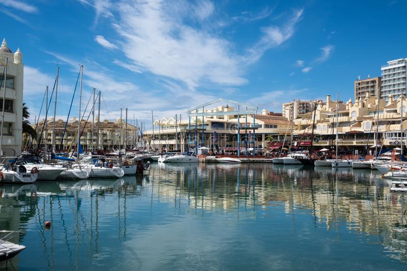 BENALMADENA, MALAGA, SPAIN. May 8, 2019. Port Marina with boats docked royalty free stock photography