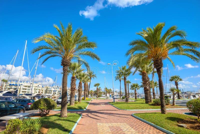 Benalmadena marina Costa del Sol Malaga landskap, Andalusia, S fotografering för bildbyråer