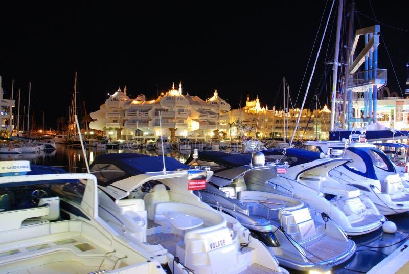 Benalmadena marina at night. stock image