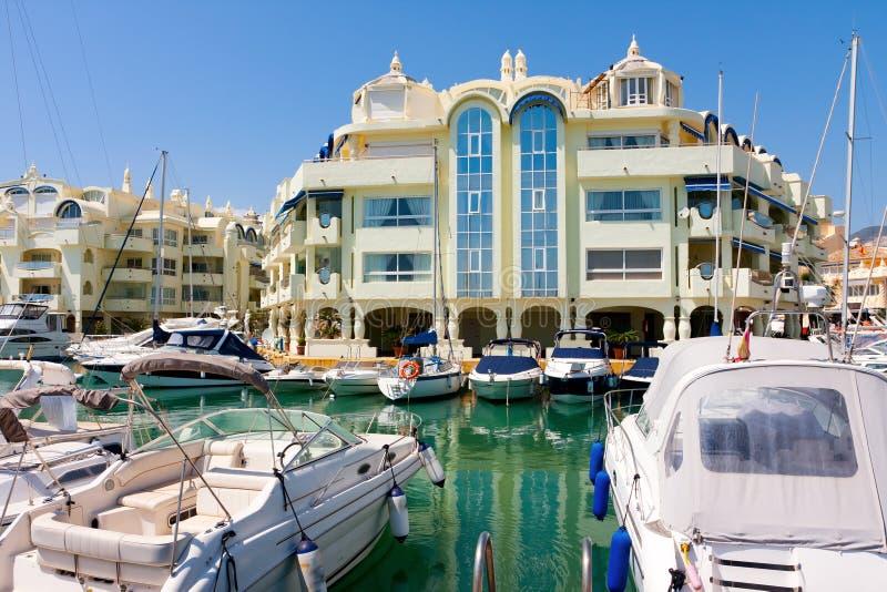 Benalmadena marina and sailboats royalty free stock photography