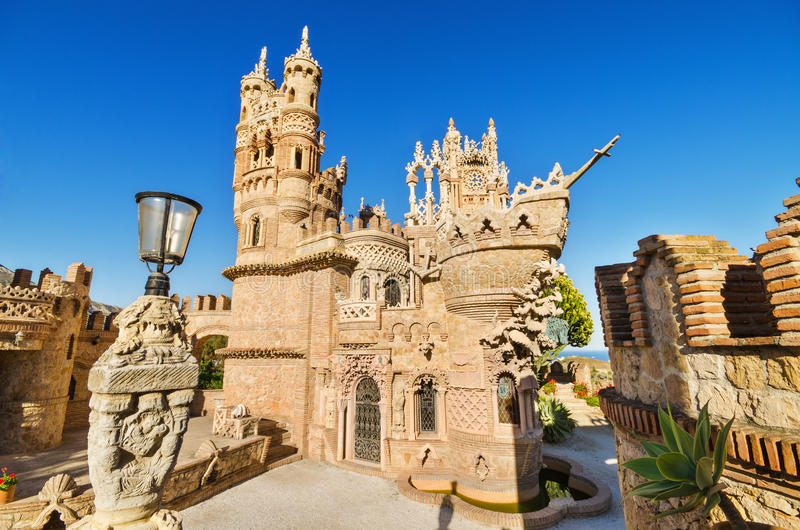 BENALMADENA, SPAIN - APRIL 28: Castle monument of Colomares on April 28, 2014. Is a monument honoring Cristopher Colombus and the. Discovery of America. Was stock image