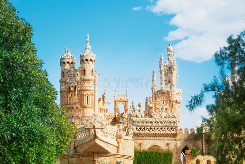 BENALMADENA, SPAIN - FEBRUARY 06, 2015: Close-up view to Colomares castle in Benalmadena, dedicated to Christopher Columbus, and stock photos