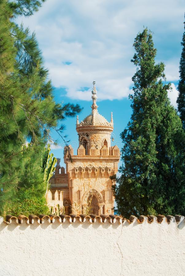 BENALMADENA, SPAIN - FEBRUARY 06, 2015: Close-up view to a tower royalty free stock images