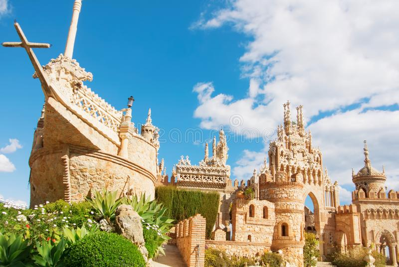 BENALMADENA, SPAIN - FEBRUARY 06, 2015: Famous view to Colomares castle in Benalmadena, dedicated to Christopher Columbus. royalty free stock photography