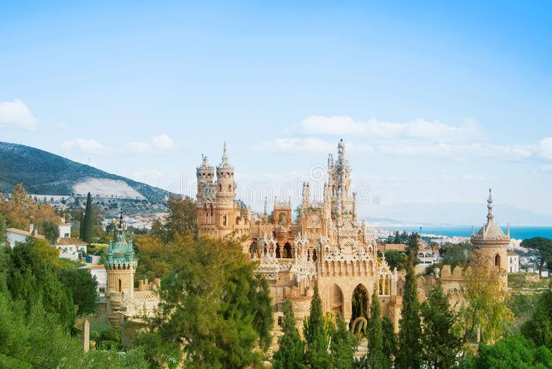 BENALMADENA, SPAIN - FEBRUARY 06, 2015: Panoramic view to Colomares castle in Benalmadena, dedicated to Christopher Columbus, and royalty free stock image