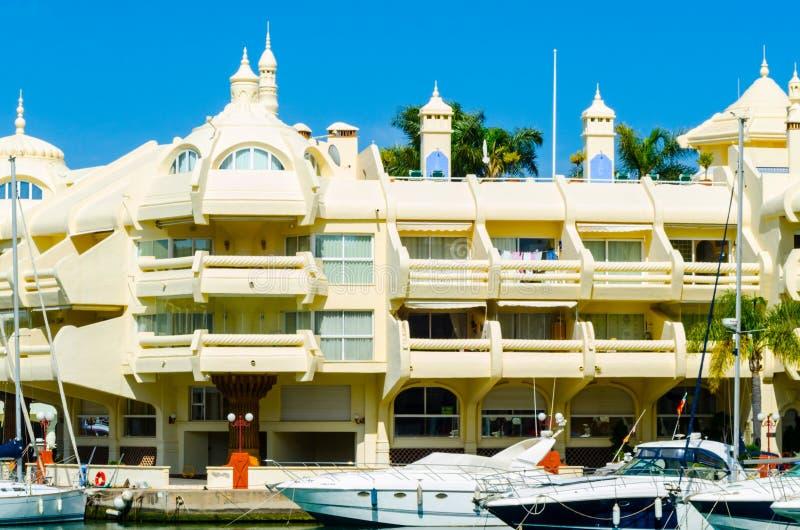 BENALMADENA, SPAIN - MAY 10, 2018 Luxury boats and apartments i stock image