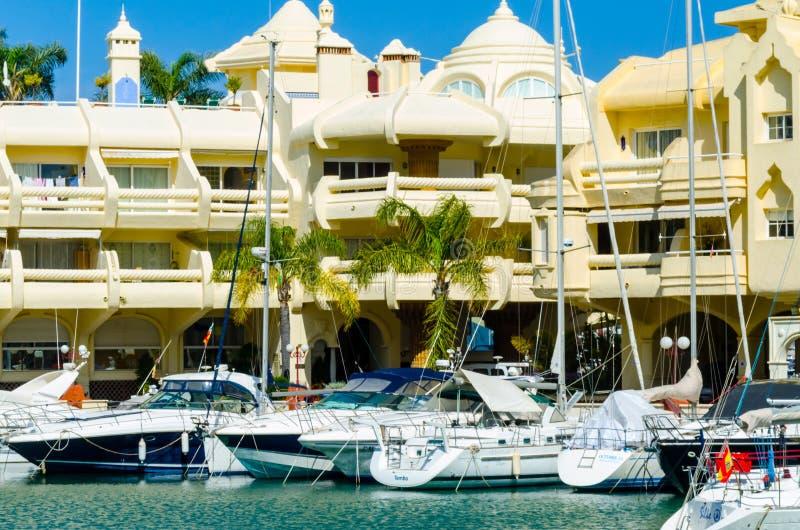 BENALMADENA, SPAIN - MAY 10, 2018 Luxury boats and apartments i stock photo