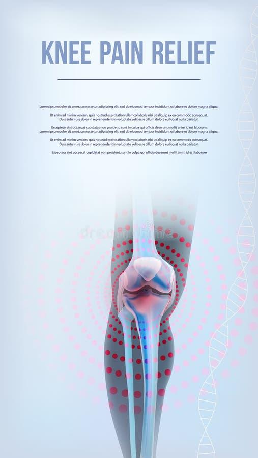 Benar ur av knäet smärtar lättnad royaltyfri illustrationer