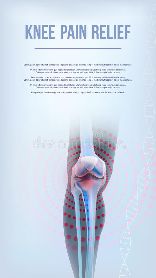 Benar ur av knäet smärtar lättnad stock illustrationer