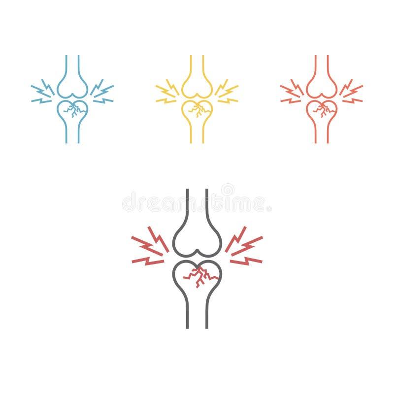 Benbrott, människokropposteoporosissymbol stock illustrationer
