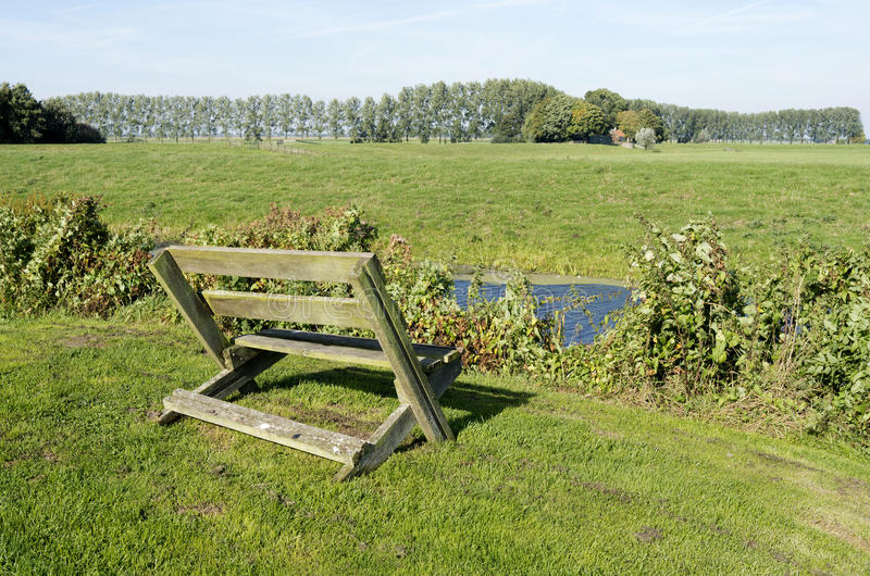 Bench. Bench in the meadows in Ter Aar, Netherlands stock images