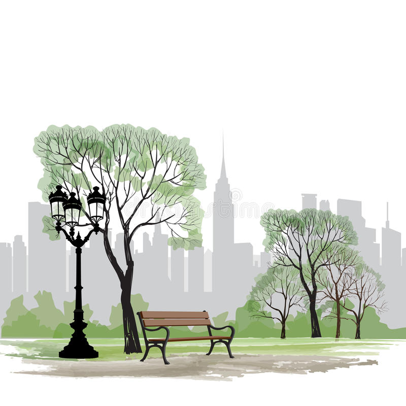 Free Bench And Streetlight In Park Over City Background. Landscape Royalty Free Stock Images - 44107829