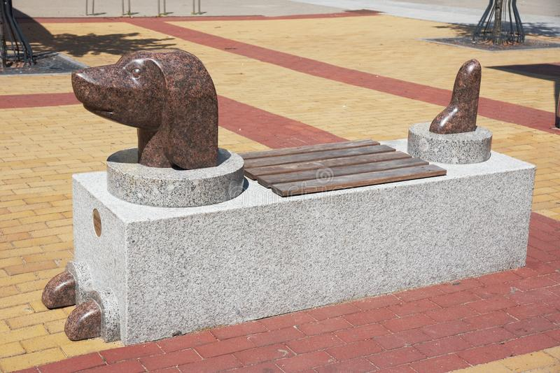 Bench as dachshund dog, Klaipeda, Lithuania royalty free stock images