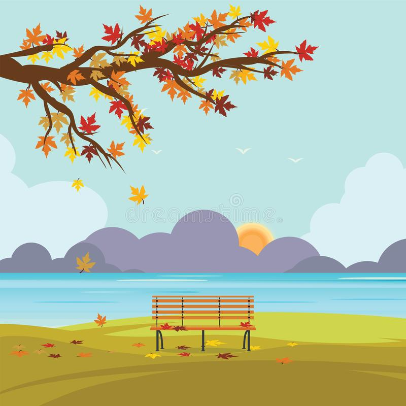Bench in autumn park with fall leaves . Bench in autumn park with fall leaves on the branches of trees on field in sunny day, vector illustration stock illustration