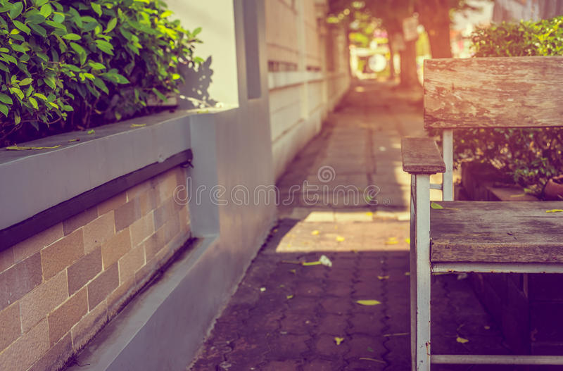 Bench in the autumn park. Image of vintage style image of bench in the autumn park stock image
