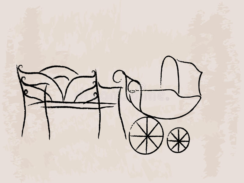 Download Bench And Baby Buggy Royalty Free Stock Image - Image: 11169586