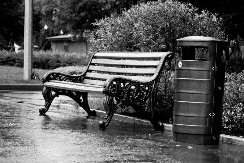 Bench And Bin Stock Images
