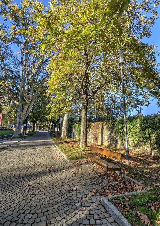 Bench in Carouge city, Geneva, Switzerland royalty free stock image