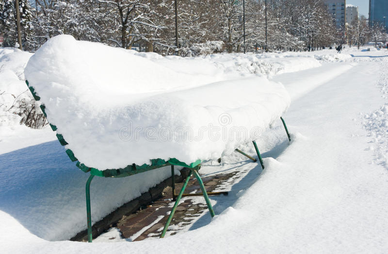 Download Bench In A City Covered By Snow Stock Photo - Image: 22372134
