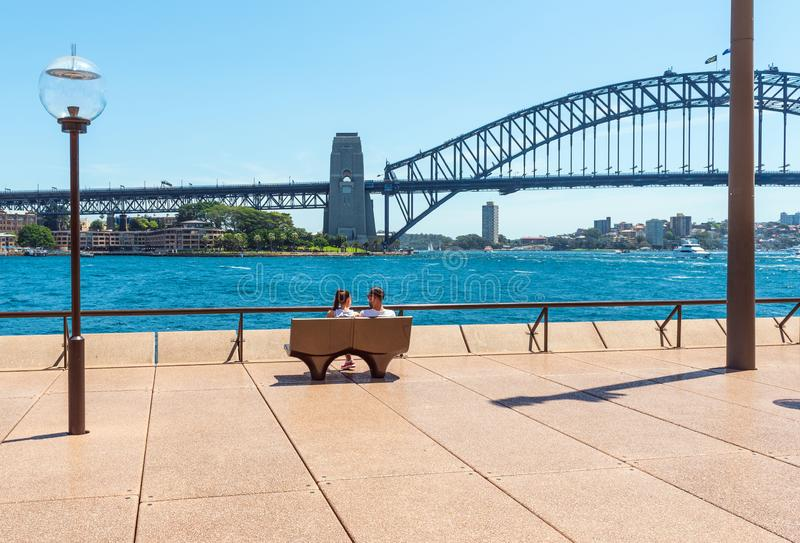 Bench on the city promenade, Sydney, Australia.  stock photos