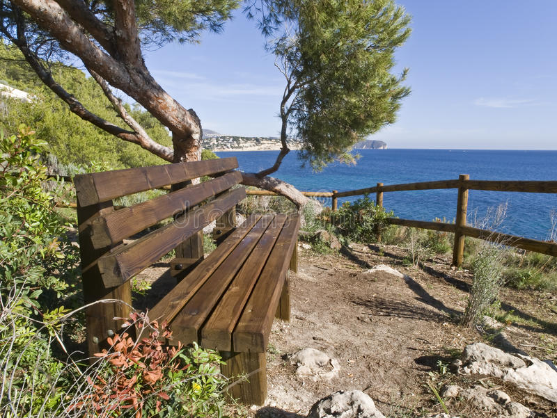 Bench on a Cliff stock photography