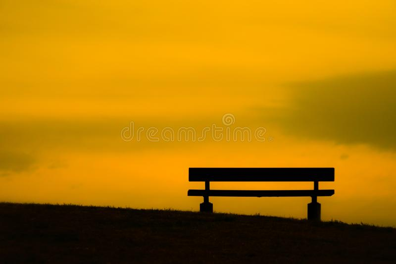 Bench of the dusk of the hill. Shooting location :  Mitaka City, Tokyo royalty free stock photography
