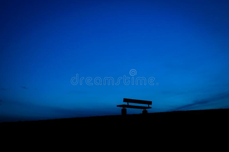 Bench of the dusk of the hill. Shooting location :  Mitaka City, Tokyo stock image