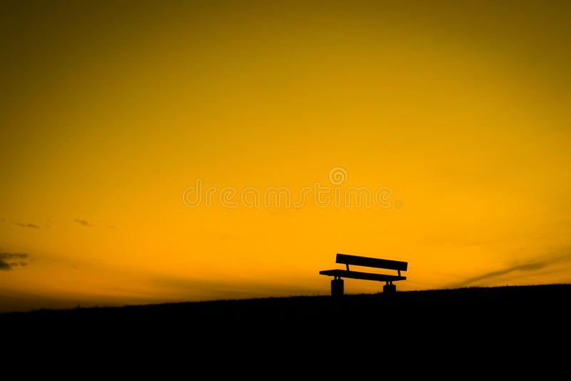Bench of the dusk of the hill. Shooting location :  Mitaka City, Tokyo royalty free stock image