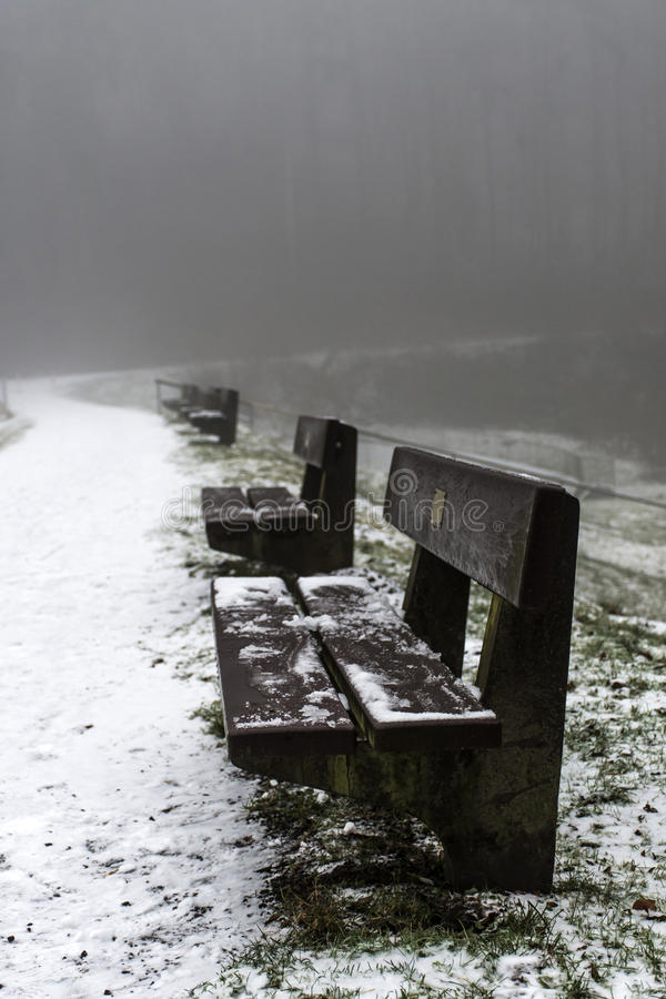 Free Bench Empty Seat In Wood Trees Winter And Fog 8 Royalty Free Stock Image - 83757706