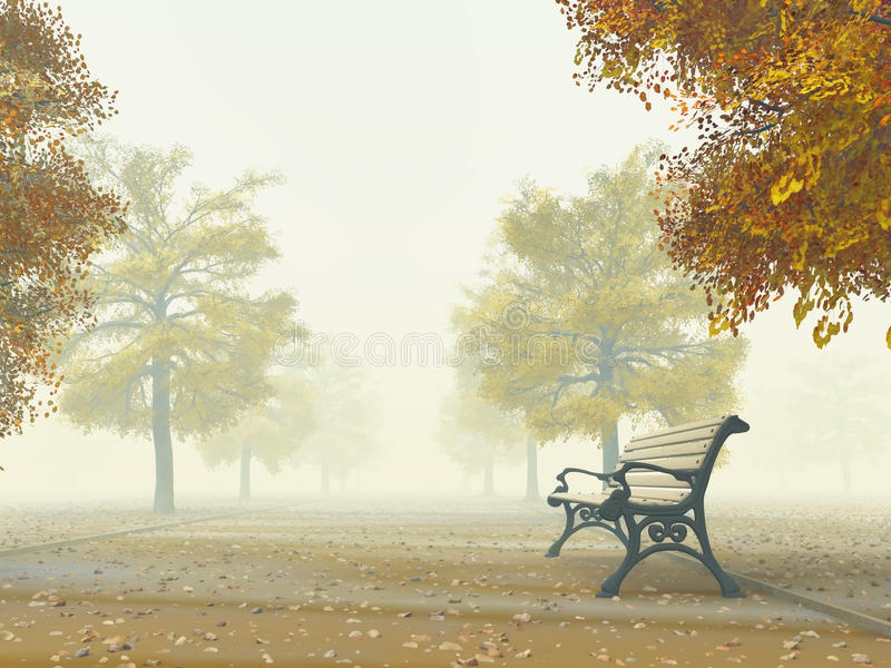 Bench en el camino del otoño stock de ilustración