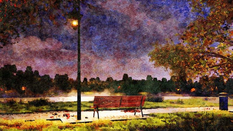 Bench en parque en el paisaje de la acuarela de la noche del otoño ilustración del vector