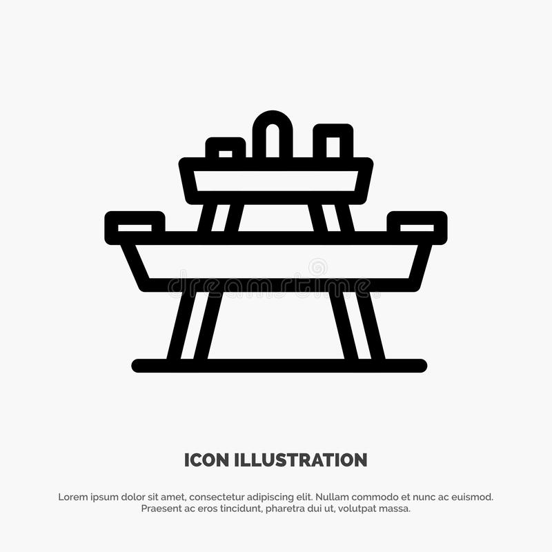 Bench, Food, Park, Seat, Picnic Vector Line Icon vector illustration
