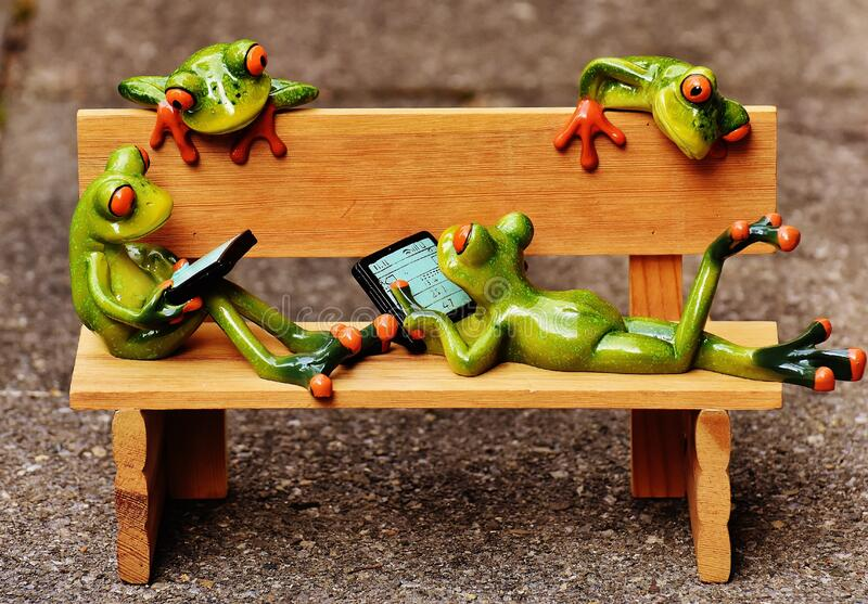 Bench with frogs
