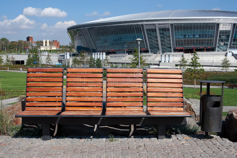 Bench In Front Of Donbass Arena Editorial Photo