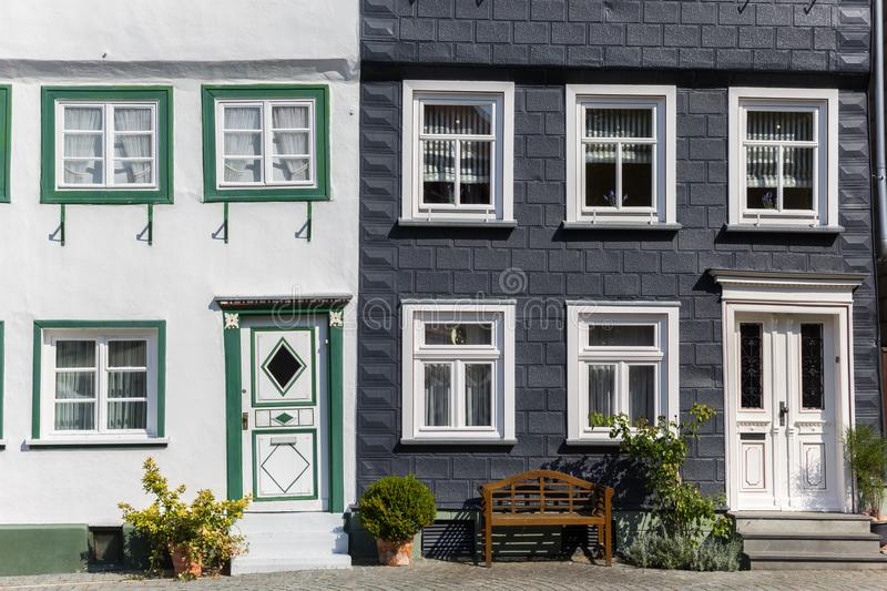 Bench in front of historic houses in Soest royalty free stock images