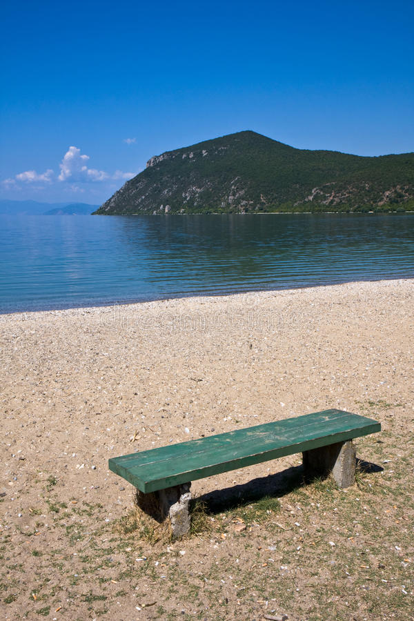 Bench at Lake Ohrid royalty free stock images