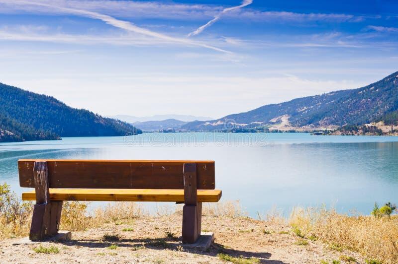 Bench and lake stock photos