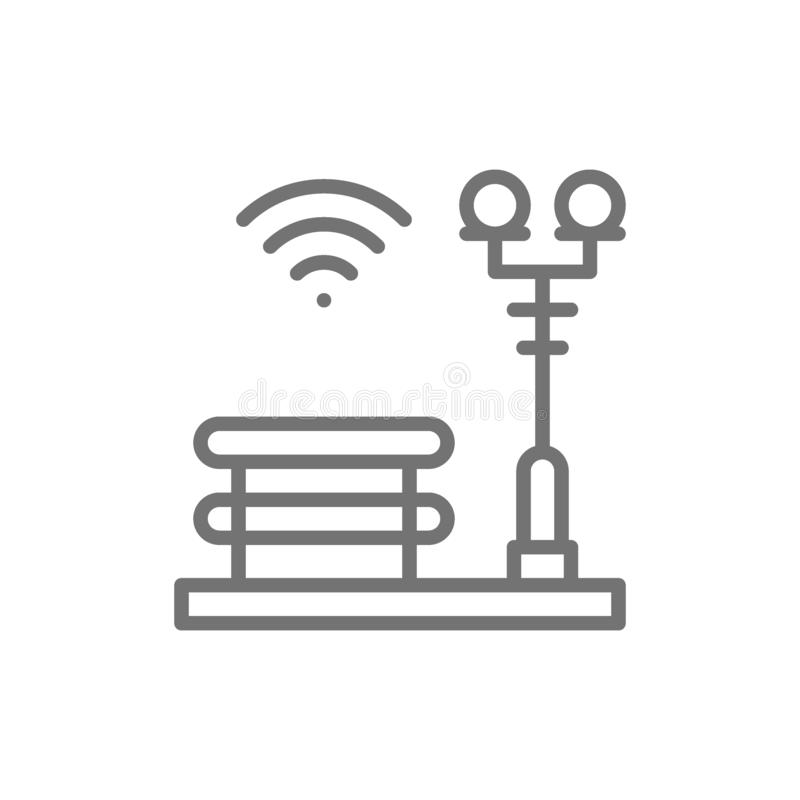 Bench with a lantern, Wi-Fi zone, smart park line icon. royalty free illustration