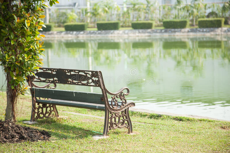 Bench on the lawn. In front of a fountain in the park royalty free stock photos