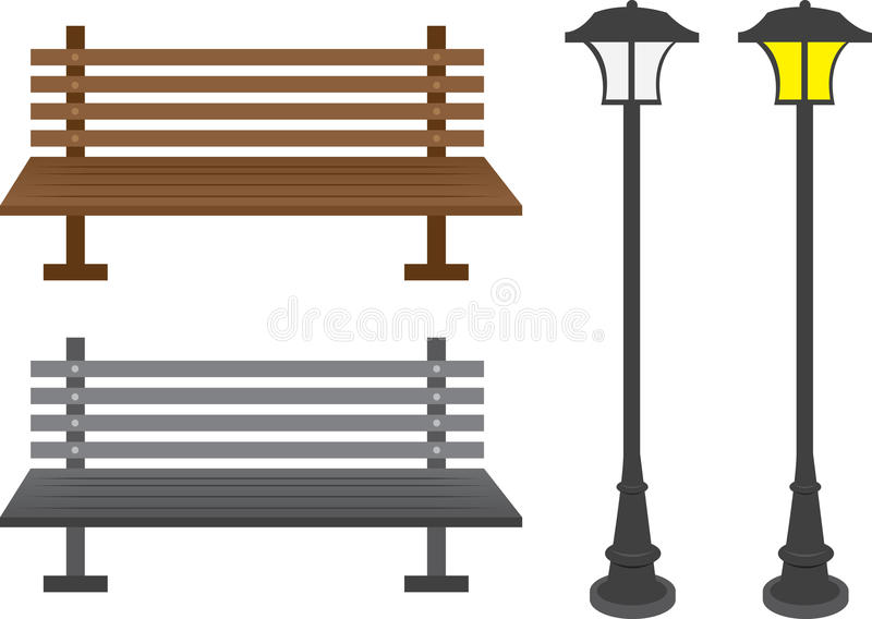 Bench And Light Posts Stock Image