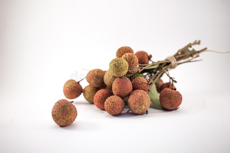 Bench of lychee isolated on white background royalty free stock photos
