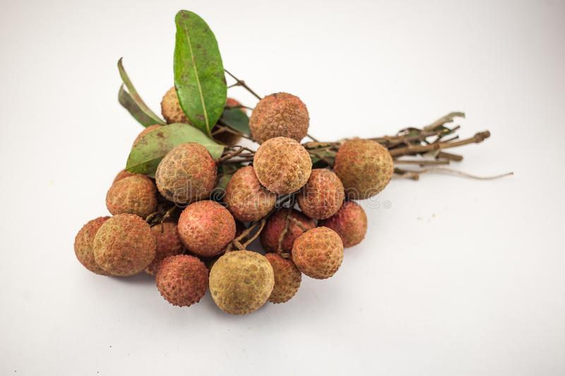 Bench of lychee  on white background stock image
