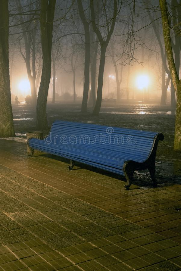 Bench in misty city park at night. By the light of street lamps. Natural winter autumn background royalty free stock photography