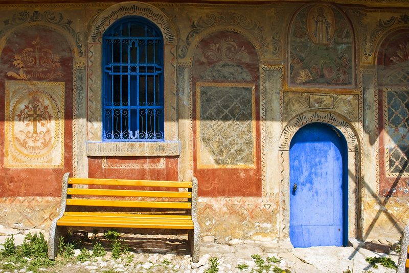 Bench in monastery stock photography