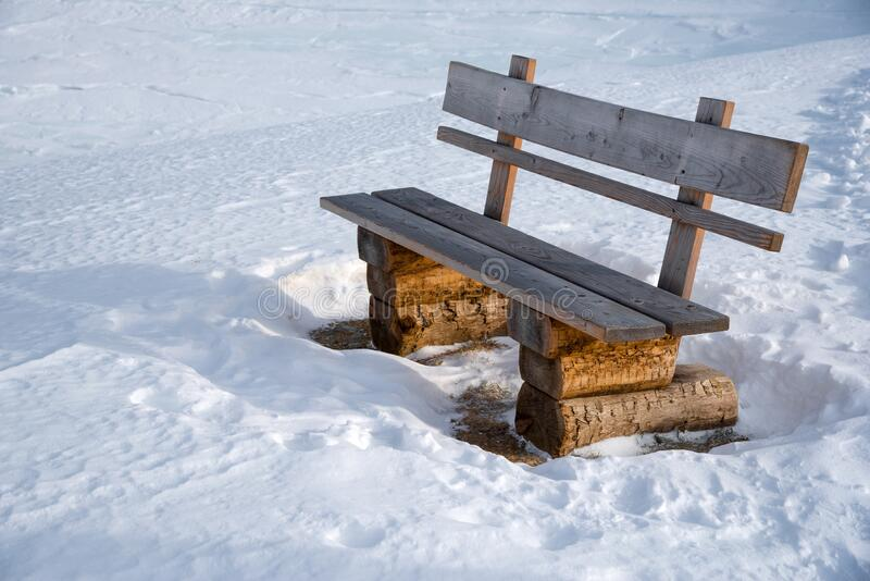 Bench next to a hiking trail royalty free stock photos