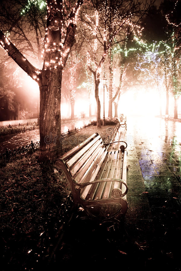 Bench in night alley with lights in Odessa, Ukrain royalty free stock photos
