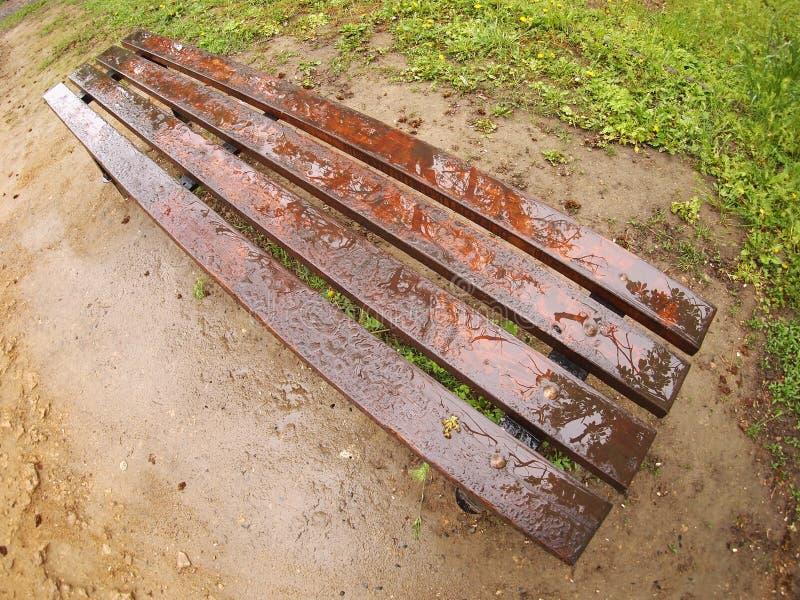 Bench no parque imediatamente depois de uma chuva de mola foto de stock
